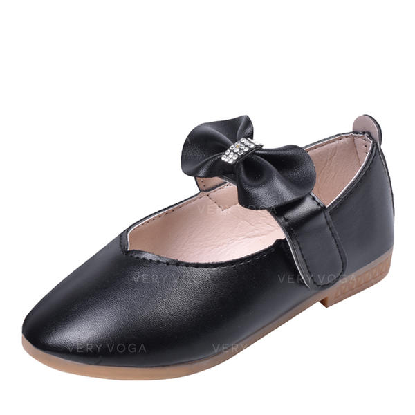 Girl's Leatherette Round Toe Closed Toe Flats Flower Girl Shoes With Bowknot Velcro