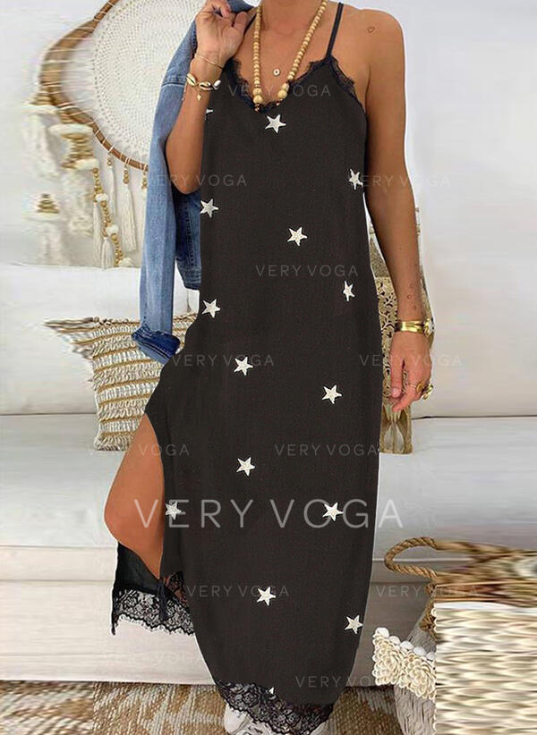 Lace/Print Sleeveless Shift Casual/Vacation Maxi Dresses
