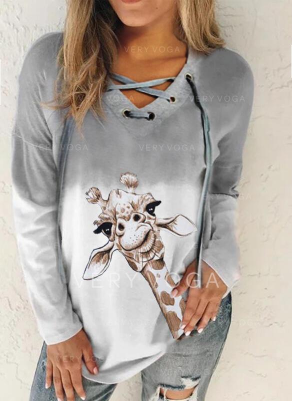 Dyr Gradient V-hals Lange ærmer Sweatshirts