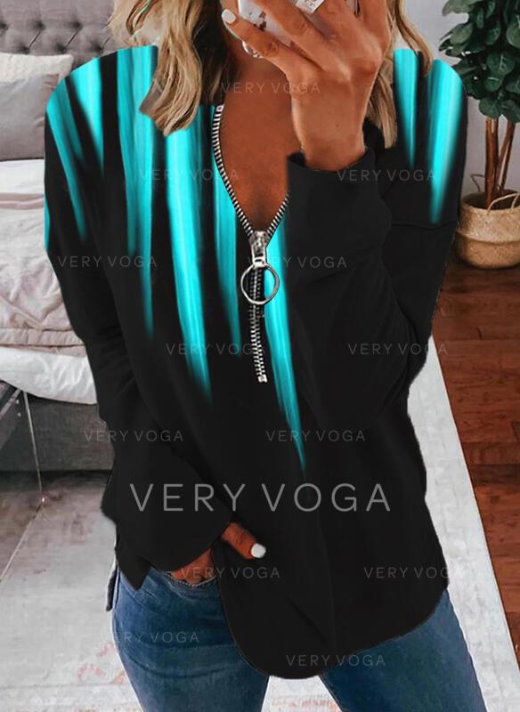 Gradient V-hals Lange ermer T-skjorter
