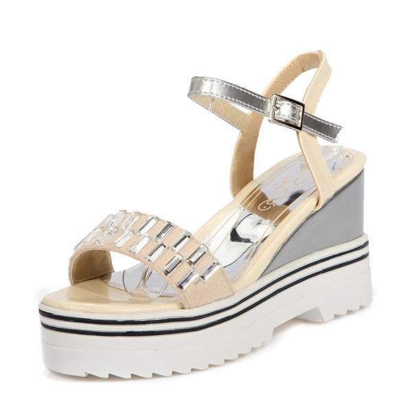 Жіночі ПУ Танкетка Сандалі Танкетка взуття на короткій шпильці Босоніжки  Пряжка 3d04d091d28bc