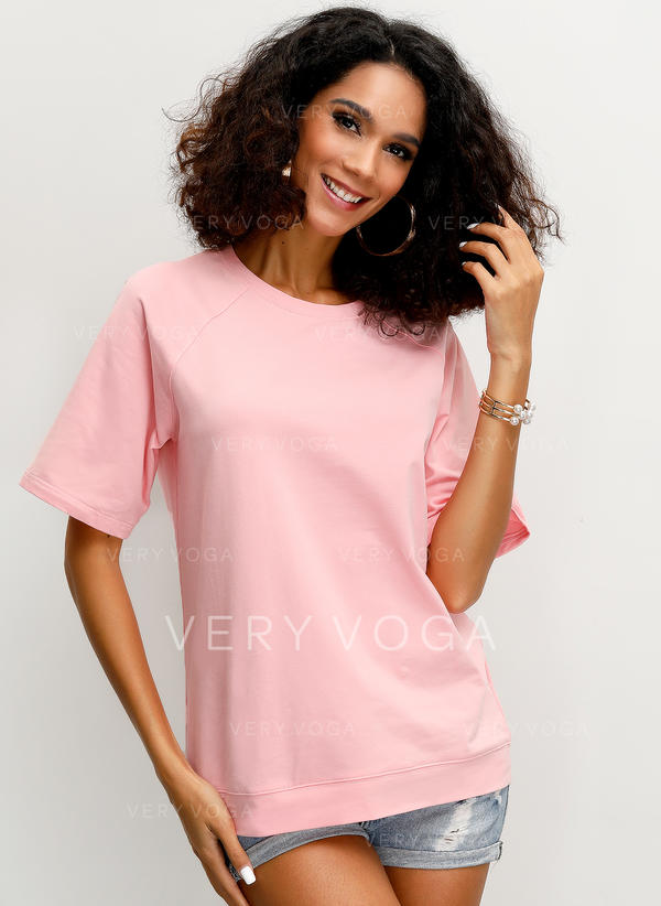 Solid Round Neck Short Sleeves Casual Knit T-shirts
