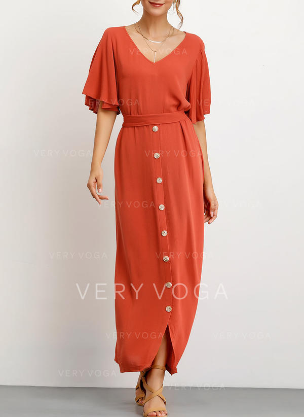 Solid Short Sleeves/Cold Shoulder Sleeve A-line Casual/Vacation Maxi Dresses