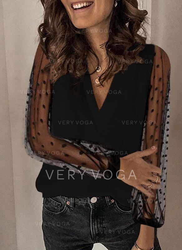 Solid Lace PolkaDot V-Neck Long Sleeves Elegant Blouses