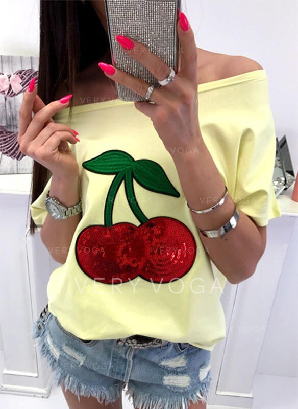Print Sequins Off the Shoulder 1/2 Sleeves Casual T-shirts
