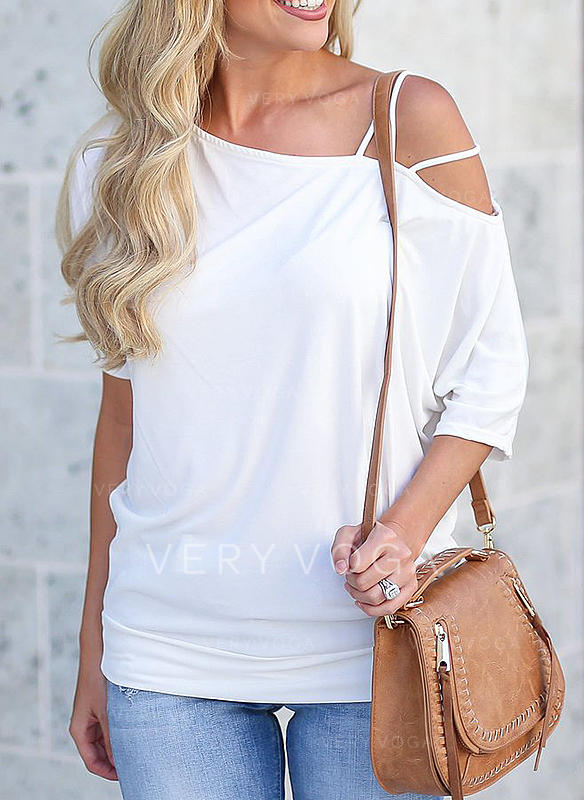 Solid One Shoulder 1/2 Sleeves Casual Sexy Blouses