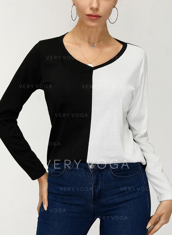 Color Block V-hals Lange ærmer T-shirts