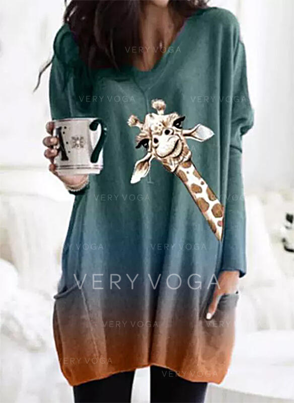 Animal Print V-Neck Long Sleeves