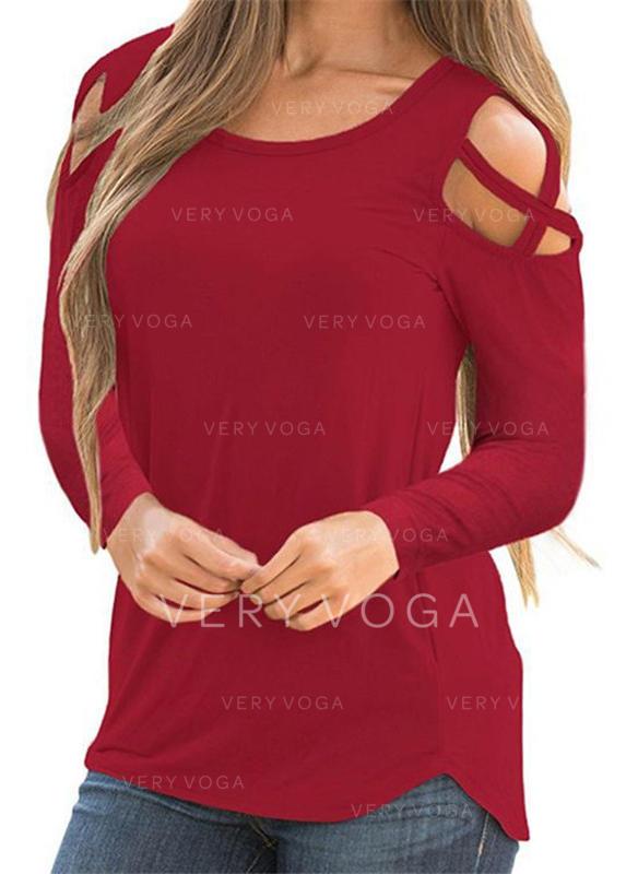 Düz / Tek (Renk) Yuvarlak Yaka Uzun kollu Günlük Karácsony Blúzok