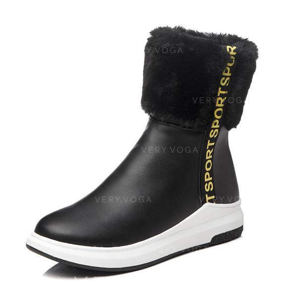 4f55d2627b4 Για Γυναίκες Δερματίνη Τακούνι Φλατ Κλειστά Toe Μπότες Μπότες παπούτσια