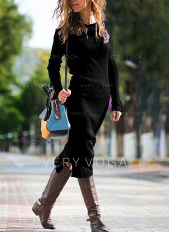 Couleur Unie Manches Longues Fourreau Midi Petites Robes Noires/Décontractée/Élégante Robes