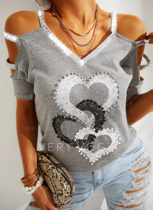 Heart Cold Shoulder Short Sleeves Casual Blouses