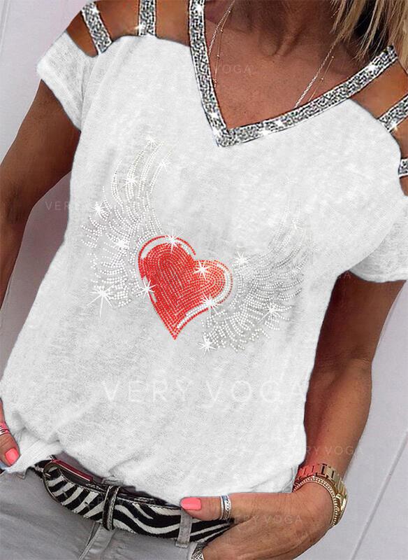 Estampado Lantejoulas Coração Ombros à Mostra Manga Curta Casual Blusas