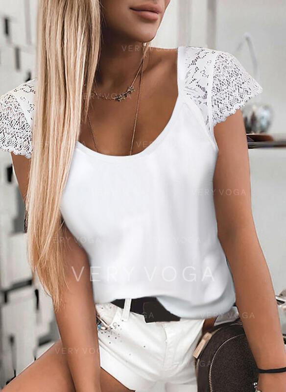 Μονόχρωμο Δαντέλα Στρογγυλός Λαιμός Κοντά Μανίκια Καθημερινό Блузи