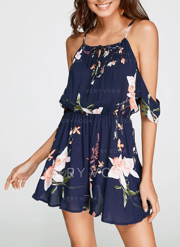 Floral Print Halter Short Sleeves Casual Vacation Romper