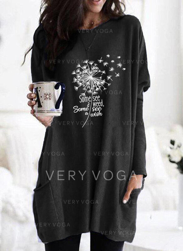 Print Figure Dandelion Pockets Round Neck Long Sleeves Sweatshirt