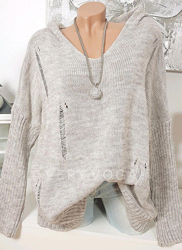 Solid Ribbed Hooded Sweaters
