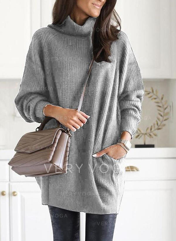 Solid Pocket Turtleneck Casual Sweaters