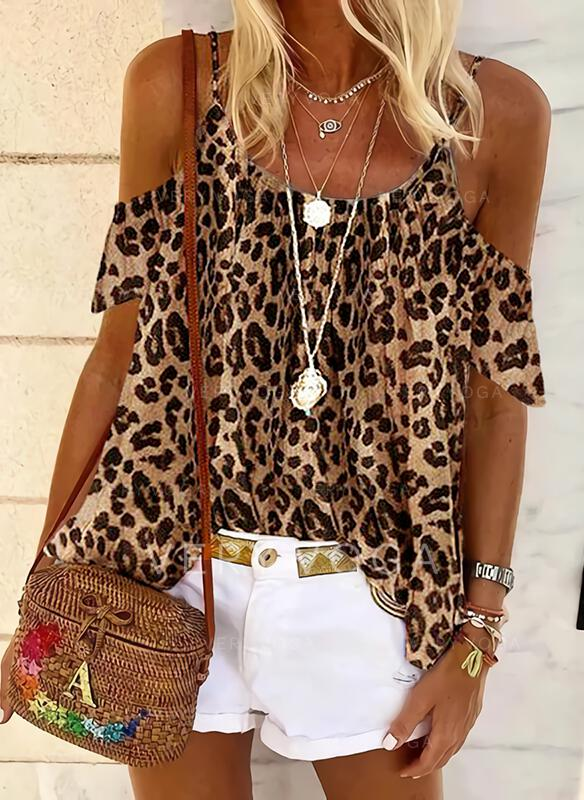 leopardi Cold Shoulder Lyhyet hihat Rento Puserot