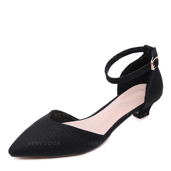Femmes Cuir en microfibre Talon bas Escarpins Bout fermé avec Boucle chaussures