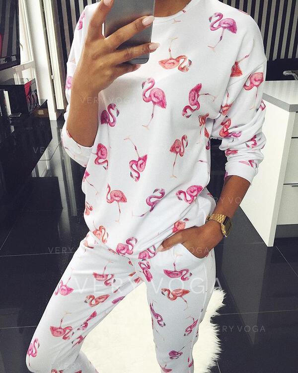 Cuello Redondo Manga Larga Floral Sexy Conjuntos de top y pantalones