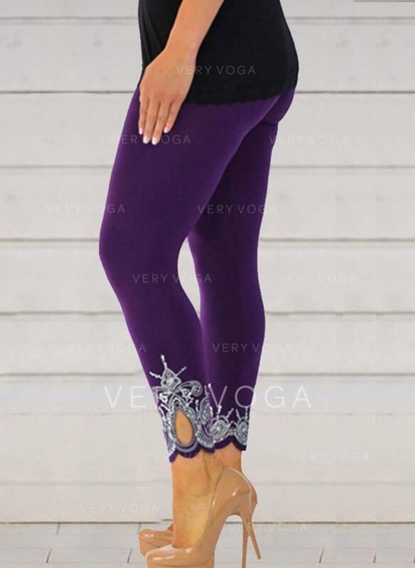 Jacquard Print Plus Size Cropped Casual Sexy Skinny Leggings