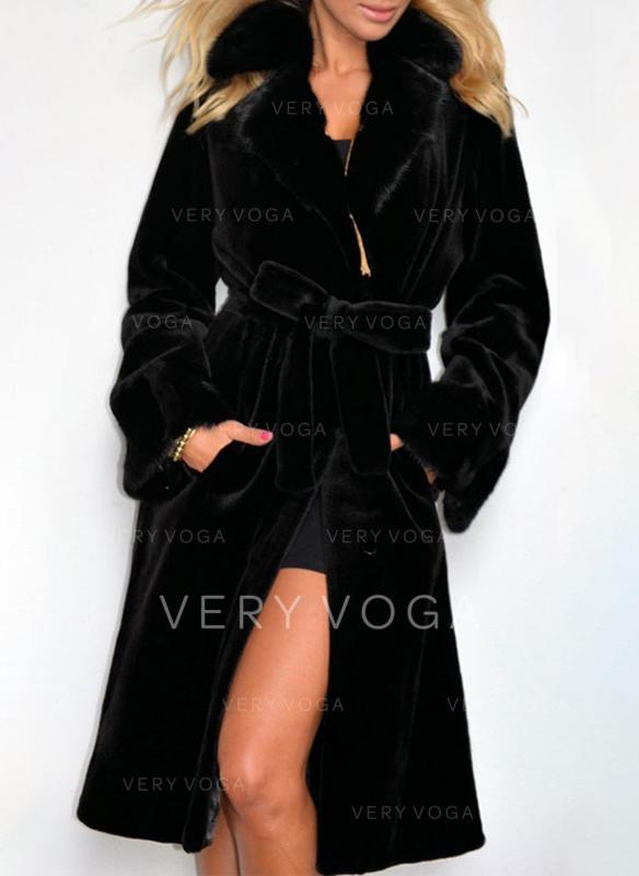 buy online a0433 3bc6f [€ 78.99] Pelliccia ecologica Maniche lunghe Colore solido Cappotto in  Miscele - VeryVoga