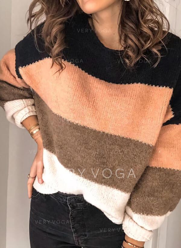 Blok Kolorów Kerek nyak Hétköznapokra πουλόβερ