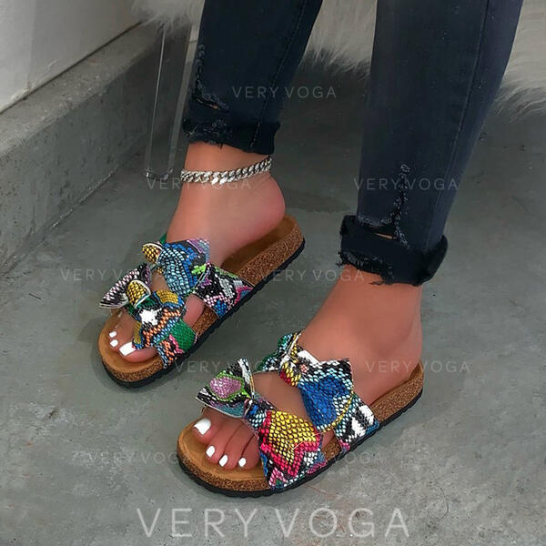 De mujer PU Tacón plano Encaje Pantuflas con Bowknot Estampado de animales zapatos