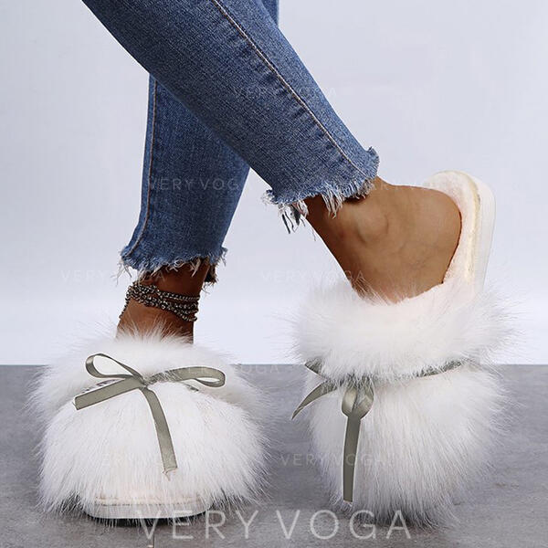 Pentru Femei Blana falsa Fară Toc Sandale Şlapi cu Nod Blană Culoare solida pantofi