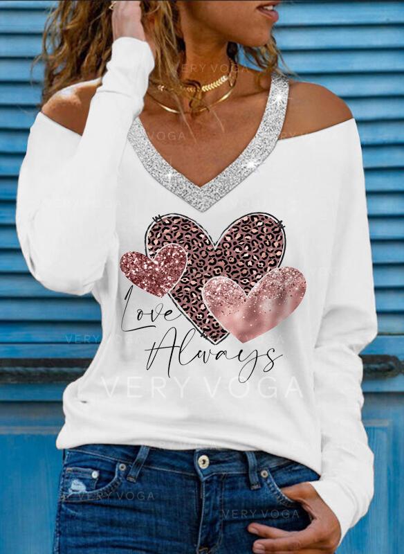 Leopardo Corazón Impresión Carta Lentejuelas Top Con Hombros Manga Larga Camisetas