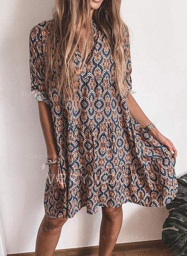 Print 1/2 Sleeves Shift Knee Length Casual/Vacation Dresses (199306141)