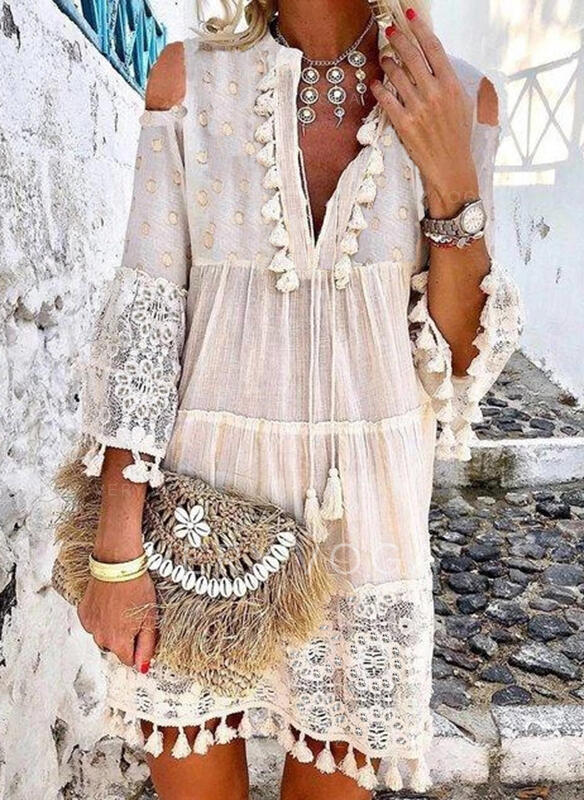 Lace 3/4 Sleeves Shift Above Knee Casual/Vacation Dresses