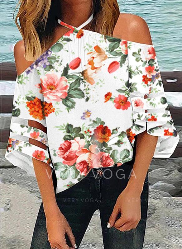 Drucken Blumen Kalte Schulter 1/2 Ärmel Freizeit Blusen