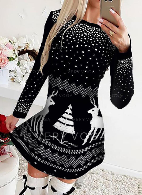 Animal Print Long Sleeves A-line Above Knee Christmas/Casual Skater Dresses