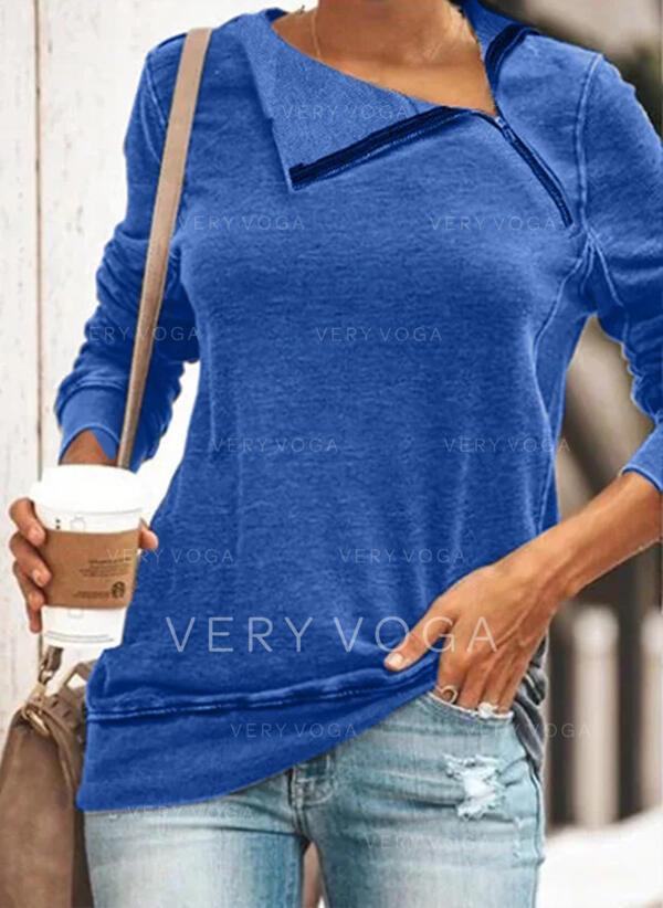 Solide Afneembare kraag Lange Mouwen Sweatshirts