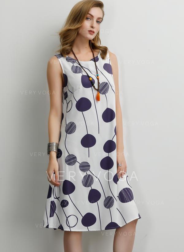 Print Sleeveless Shift Knee Length Casual Dresses