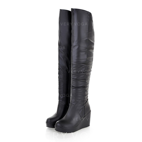 Women's Leatherette Wedge Heel Knee High Boots With Ruched shoes