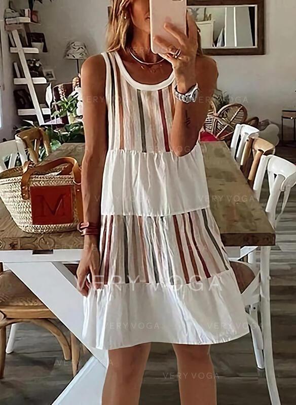 Striped Sleeveless Shift Knee Length Casual Tank Dresses