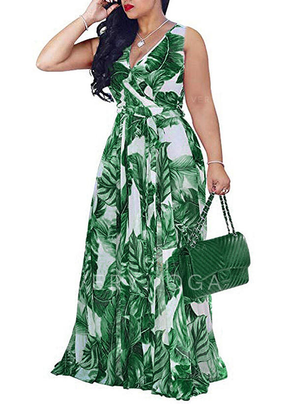 Print Sleeveless A-line Wrap Casual/Vacation Maxi Dresses