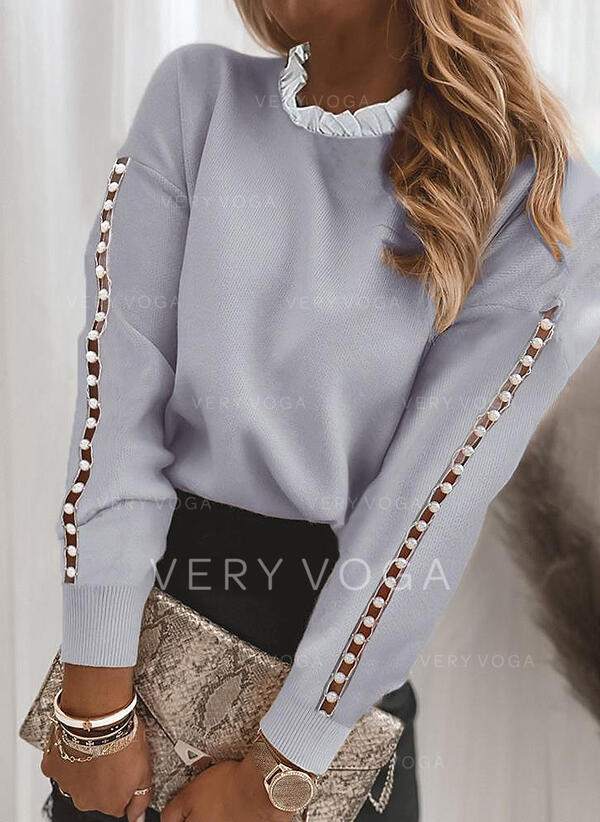 Beaded Stand Collar Casual Sweaters