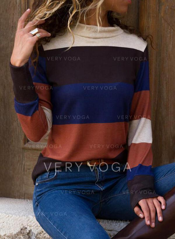 Colorblock Állógallér Hosszú ujjú Hétköznapokra robić na drutach Μπλούζες
