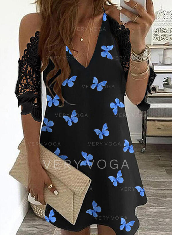 Lace/Animal Print 1/2 Sleeves Shift Above Knee Casual Tunic Dresses