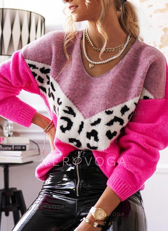 Geblockte Farben Leopard V-Ausschnitt Freizeit Pullover