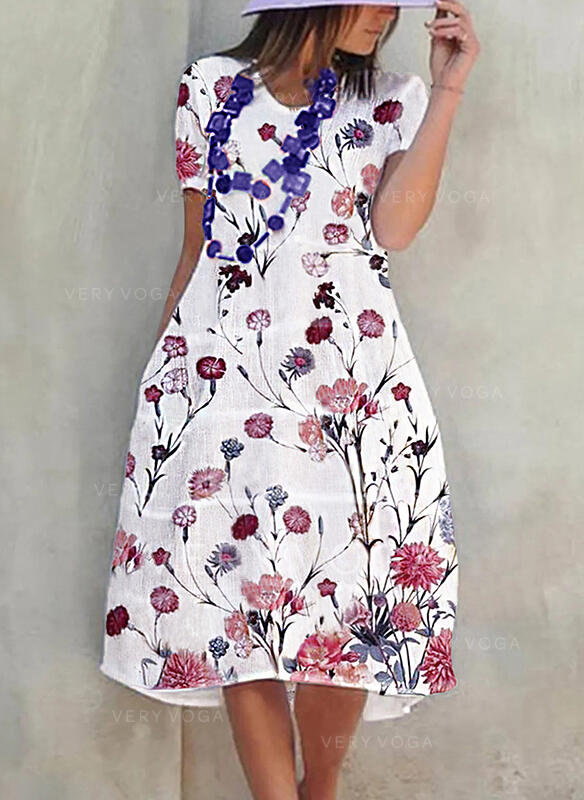 Print/Floral Short Sleeves A-line Casual Midi Dresses