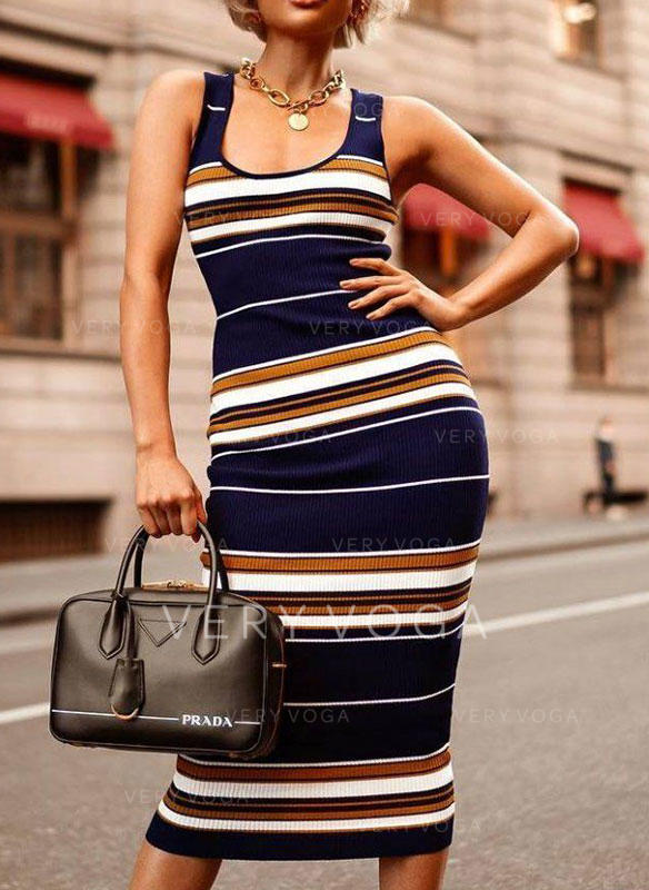 Striped Sleeveless Bodycon Casual Midi Dresses