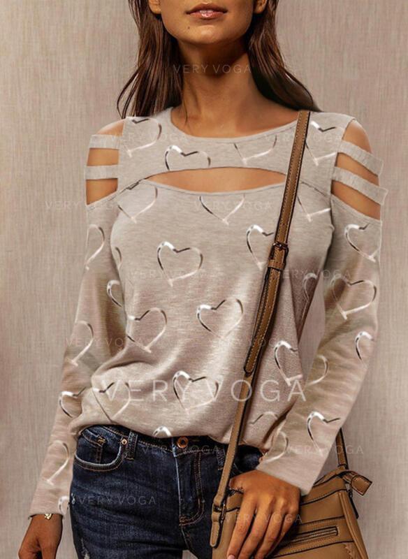 Print Hart Cold Shoulder Lange Mouwen Casual Overhemd