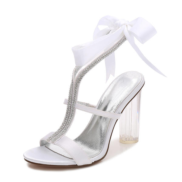 ff5190d6759 Women s Silk Like Satin Chunky Heel Peep Toe Pumps Sandals MaryJane With  Rhinestone Ribbon Tie