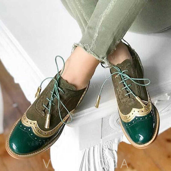 Women's Leatherette Flat Heel Flats With Lace-up Split Joint shoes