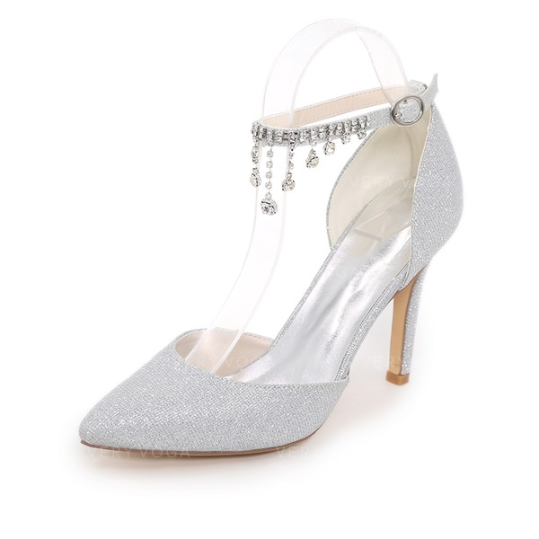 Women's Sparkling Glitter Stiletto Heel Pumps With Chain
